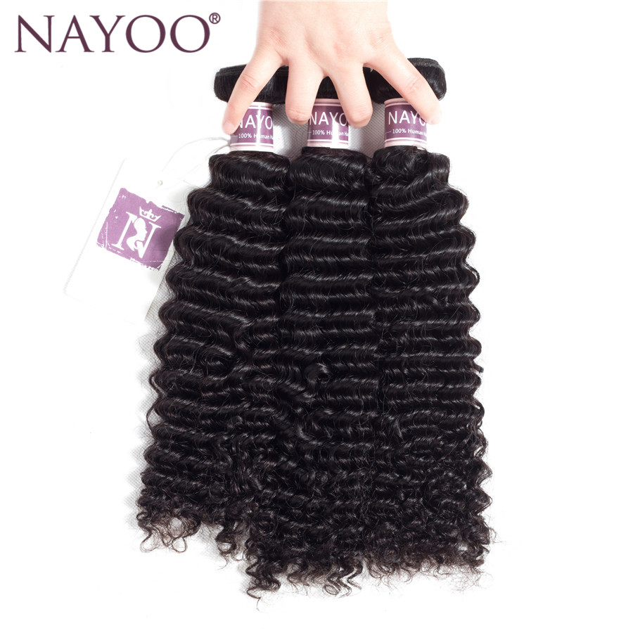 NAYOO Malaysia Hair Weave Bundles 3 Piece Kinky Curly Weave Human Hair Extensions 8-26 Inches Non Remy Natural Color