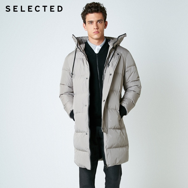 SELECTED New Winter Down Jacket Men's Zipper And Hat Casual Clothes Medium-and-Long Coat Suit S   418412503