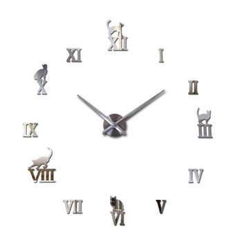 Hot design large decorative wall clocks brief design diy clocks digital watch quartz living room 3d cat wall stickers 11
