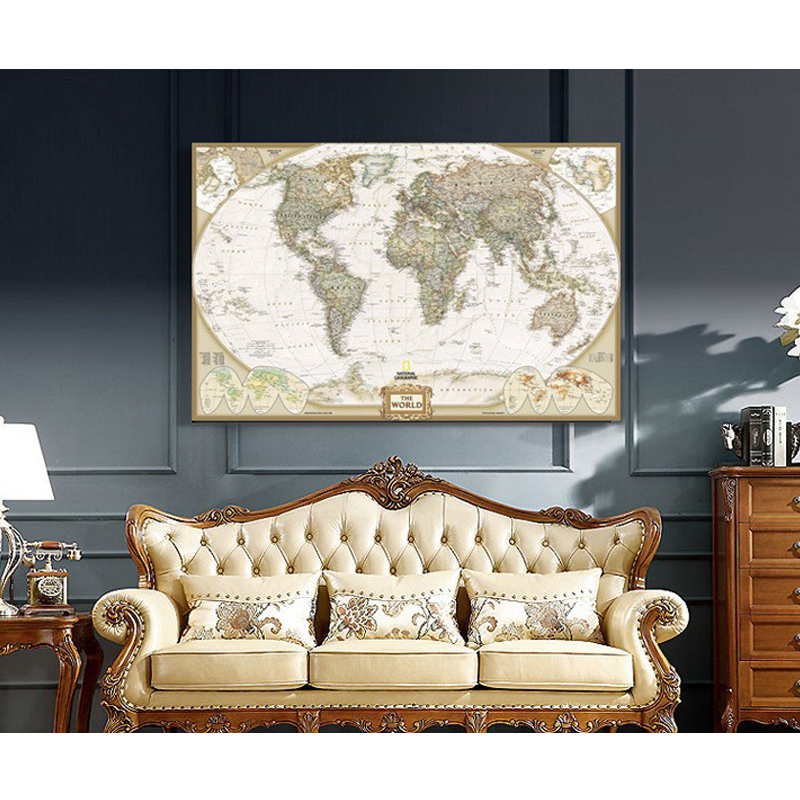 World Map Painting On Canvas Prints Large Size Wall Art ...