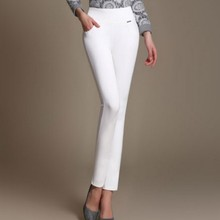 S-6xl New Womens Pants Office Lady Long Trousers Fashion Elastic Spring Solid Color Plus Size High Waist for Women