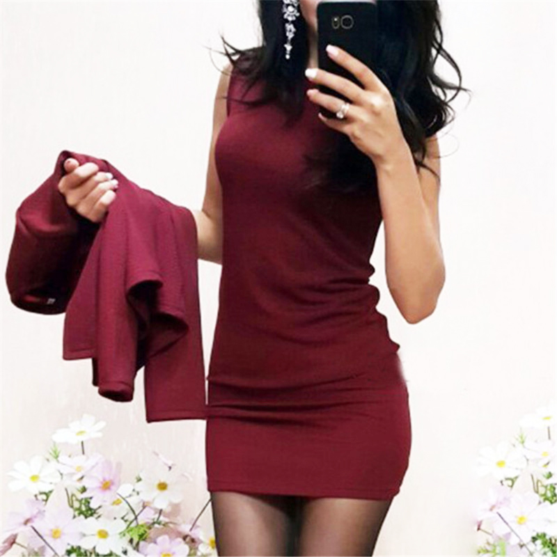 Two Pieces Set Women Autumn Suits Sexy Sheath O-Neck Above Knee Mini Dress Full Sleeve Casual Coat Clothes 2019 2
