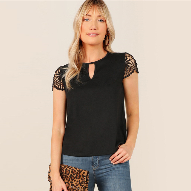 Cut Out Front Guipure Lace Short Sleeve Summer Top 3