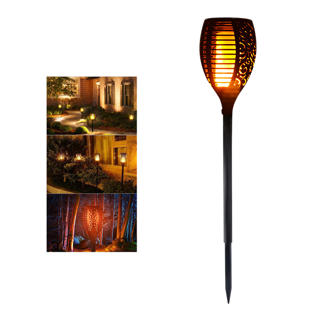 Genial Solar Powered LED Flame Lamp Waterproof 96LEDs Dancing Flickering Torch  Light Outdoor Solar LED Fire