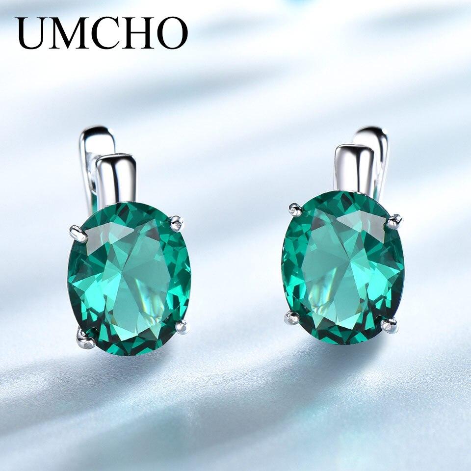 d7accbdcaf1f UMCHO Oval Nano esmeralda de piedras preciosas de colores pendientes de  Clip pendientes largos aretes pendientes de plata de ley 925 pendientes de  plata ...