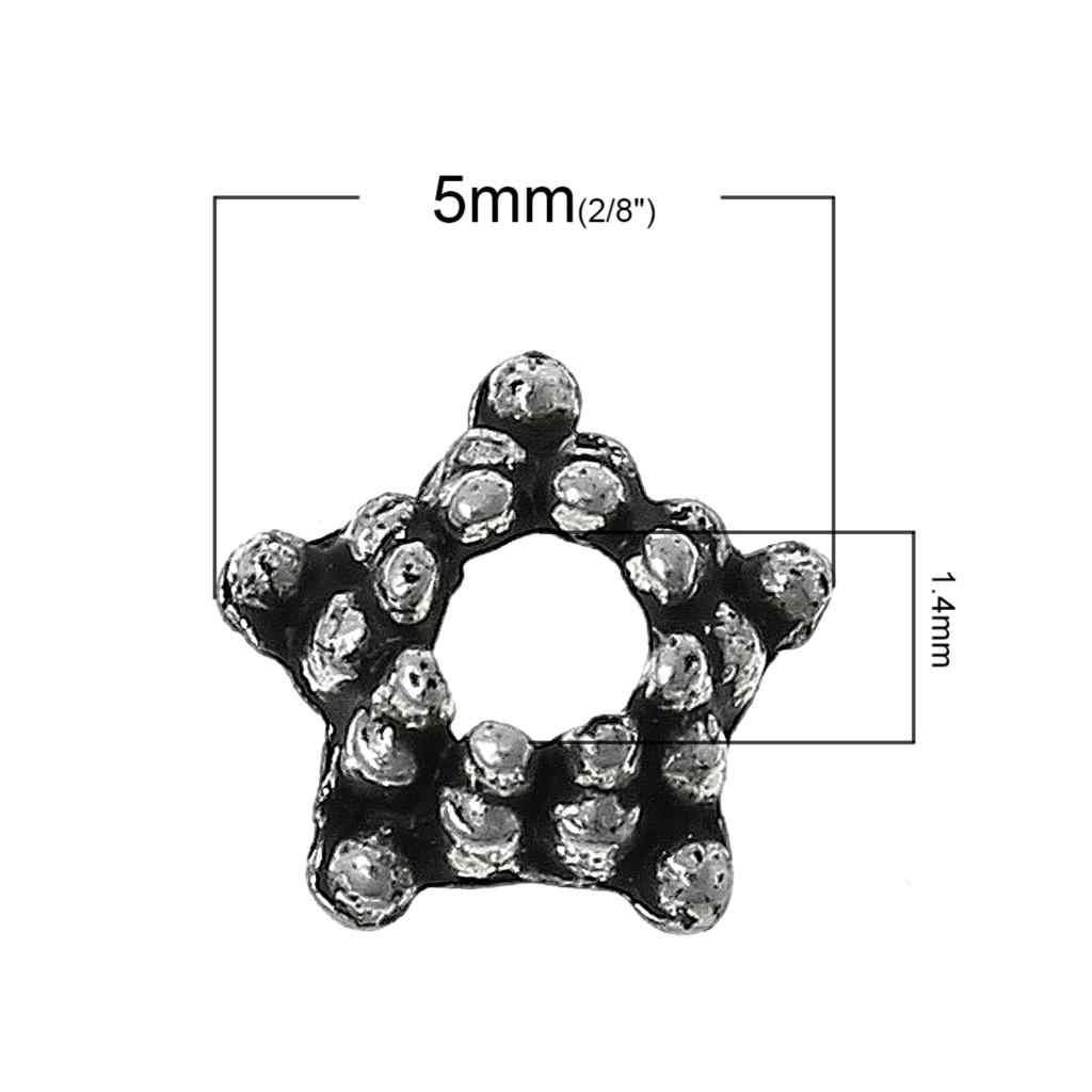 "Doreenbeads Logam Seng Paduan Manik-manik Topi Bintang Perak Antik (Cocok 6 Mm-8 Mm Manik-manik) dot Pola 5 Mm (2/8 "") Diameter, 85 Pcs Baru"