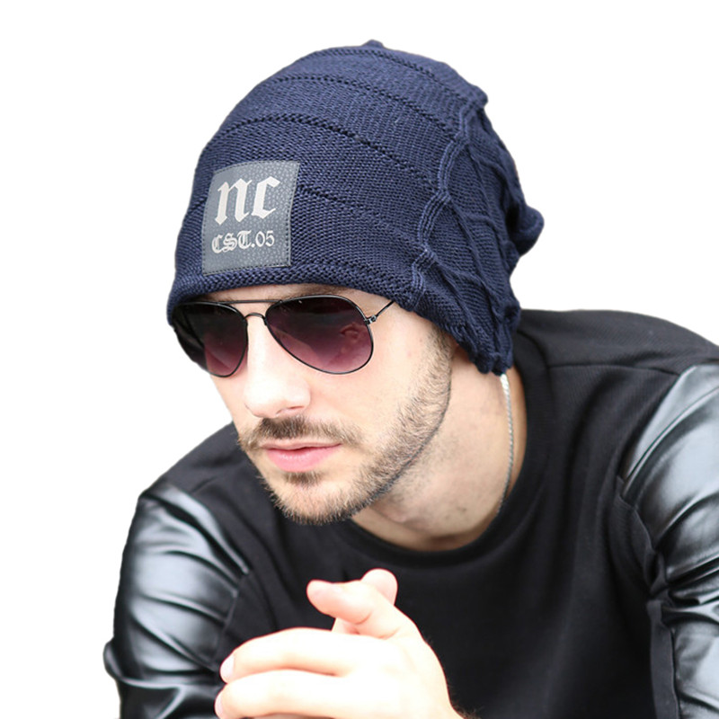 Fashion Winter Hats For Men 2015 Warm Knitted Wool Hat Trendy Outdoor Cap  Letter NC Beanie With Leather Marks 483 Free Shipping fdebbc823c9