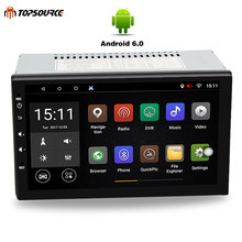 TOPSOURCE Universal 7 inch Car DVD player 2 din Android 6.0 1024*600 screen Quad Core car stereo radio GPS+WIFI+Bluetooth+Radio