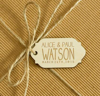 personalized natural wooden rustic wedding new year gift favor tags labels invitations party bridal shower decorations