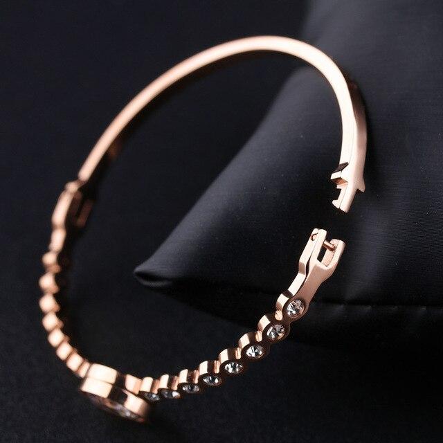 Браслет из титановой стали женские браслеты с цирконом розовое