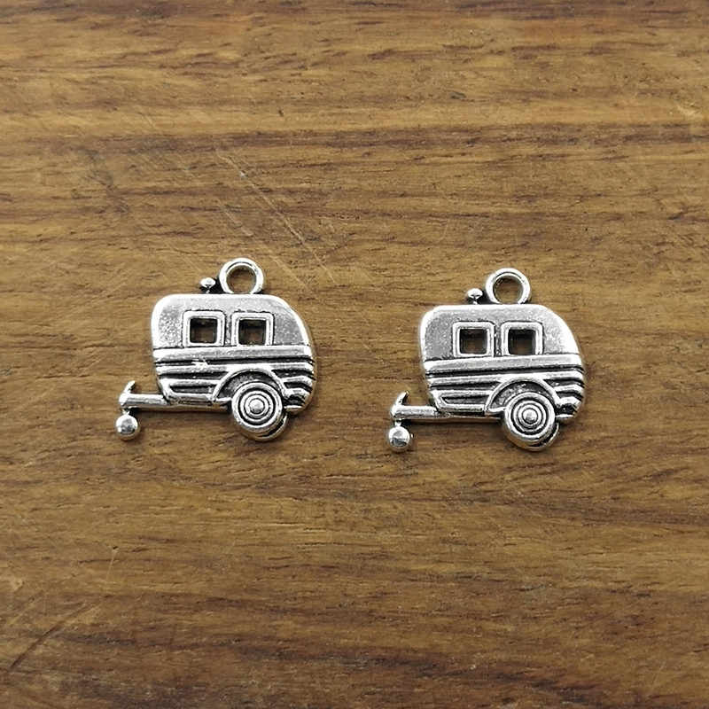 10pcs Charms Antique Silver Tone Trailer Caravan17*19mm Tibetan Silver Plated Pendants Antique Jewelry Making DIY Handmade Craft