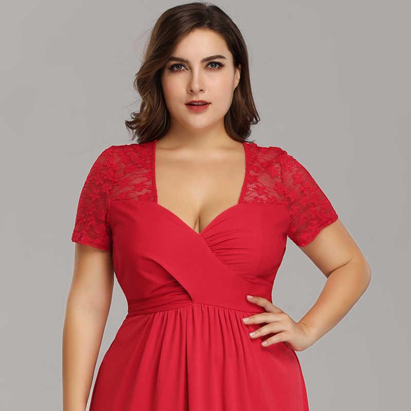 ... Plus Size Evening Dresses With Sleeve Ever Pretty EZ07553RD Elegant A  Line V Neck Long Party ... 131895c6965c
