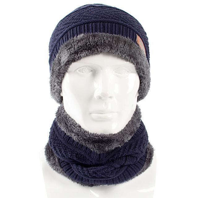6f230bbfbdf4d 2018 New Style Winter Knitted Hat Scarf Set Men Solid Color Warm Cap Scarves  Male Winter Outdoor Accessories Hats Scarf 2 Pieces
