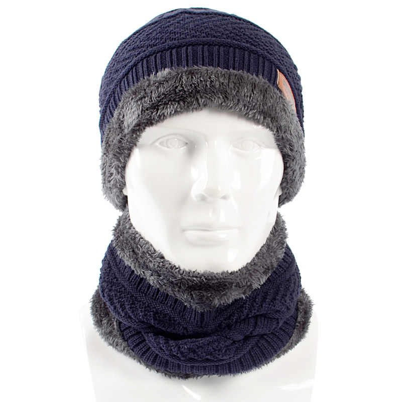 ab5c011244a2f7 2018 New Style Winter Knitted Hat Scarf Set Men Solid Color Warm Cap Scarves  Male Winter