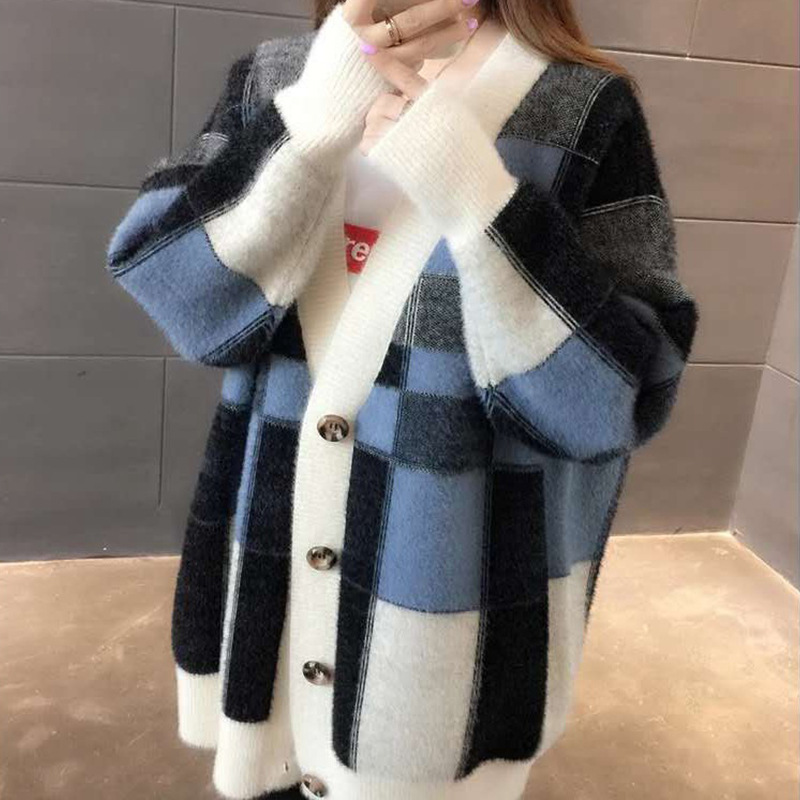 New Style Midi Loose Knit Cardigans Womens Coat