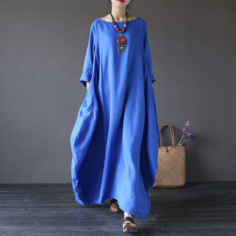 Women Maxi Dress Long Sleeve 2016 Spring Autumn Dress Vintage Loose Casual  Cotton Linen Robes Long Dress-in Dresses from Women s Clothing on  Aliexpress.com ... c9aaf9148714