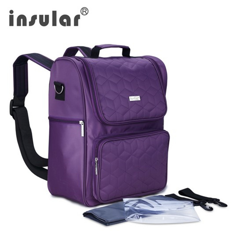 Insular Diaper Tote Bag for Women Baby Nappy Bags for Mom Purple Changing Bag with Changing Mat