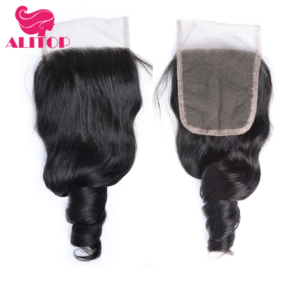ALITOP Hair Indian Loose Wave Frontal Closure With Baby Hair 100% Non Remy Human Hair 4x4 Natural Color Lace Frontal Closure