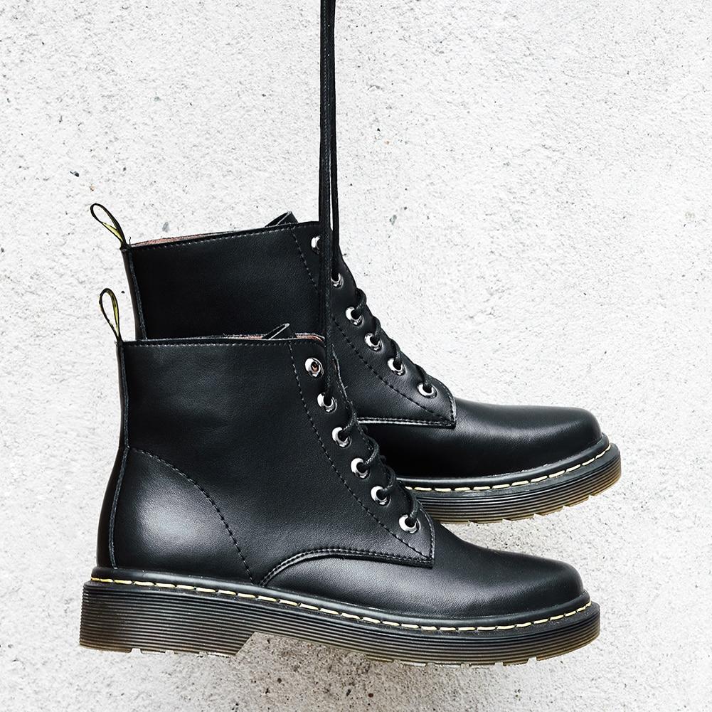 Cuero Mujer Moda Estilo 2018 Holes Martin 6 De Holes Cordones Diseño 2 Los La Marca Zapatos Botas Encaje Black black Genuino 8 Lapolaka wz6qInq