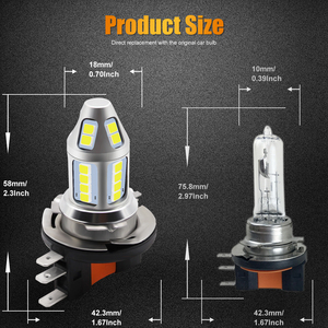 Image 4 - 2pcs H15 LED Car Fog Lamp 150W with Decoder High Power 3030 Chip White Waterproof Auto Front Headlamp Fog Driving Lights 12V 24V
