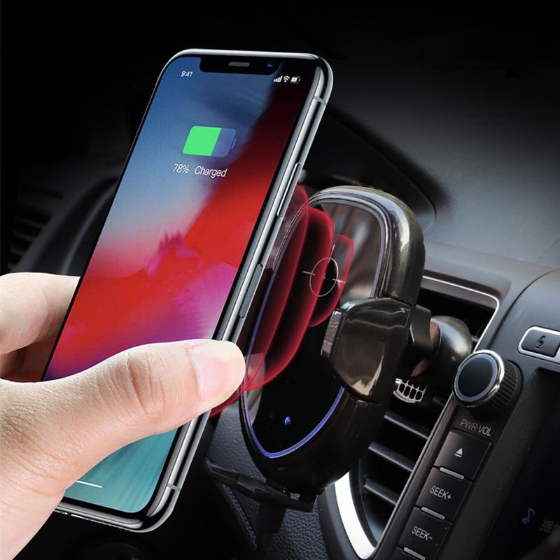 10 W Qi rapide voiture montage évent chargeur sans fil support pour téléphone pour iPhone X Xs Max 8 pare-brise capteur infrarouge support de charge