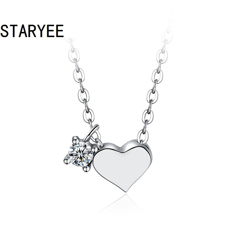 STARYEE Certified VS H 3EX 0.05CT Natural Diamond Heart Pendant Necklace For Women Real 18K White Gold Jewelry Anniversary Gift yoursfs 18k rose white gold plated letter best mum heart necklace chain best mother s day gift