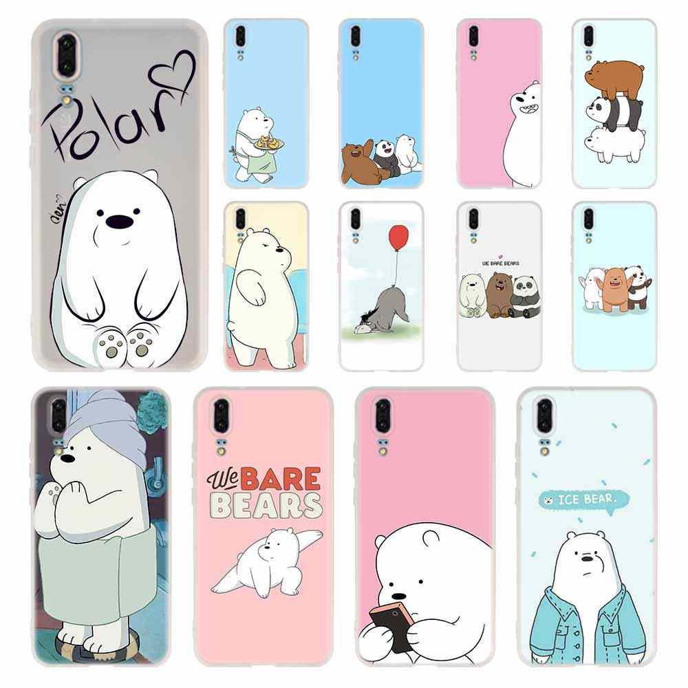 We Bare Ice Bear Panda Phone Case For Huawei P8 P9 Lite 2017 P10 P20 P30 Lite Plus Pro P Smart 2019 Cover Soft Cover