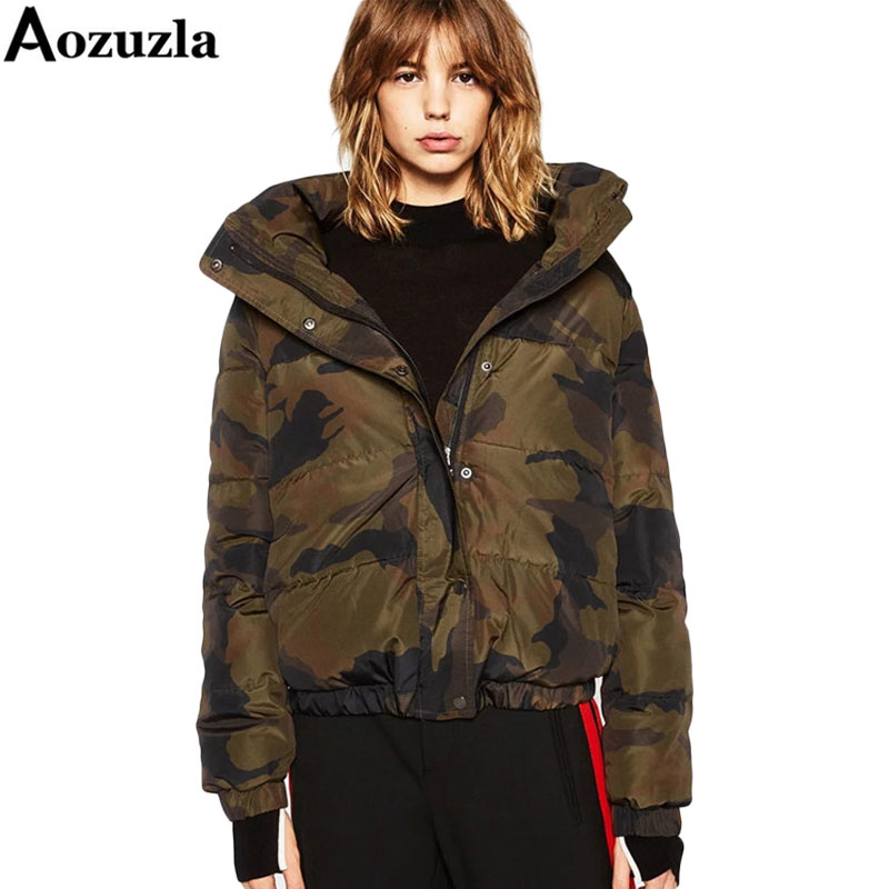 New 2017 Camouflage Women Cotton padded Jackets Back Letter Print Army Green Ladies Bomber Parkas Winter