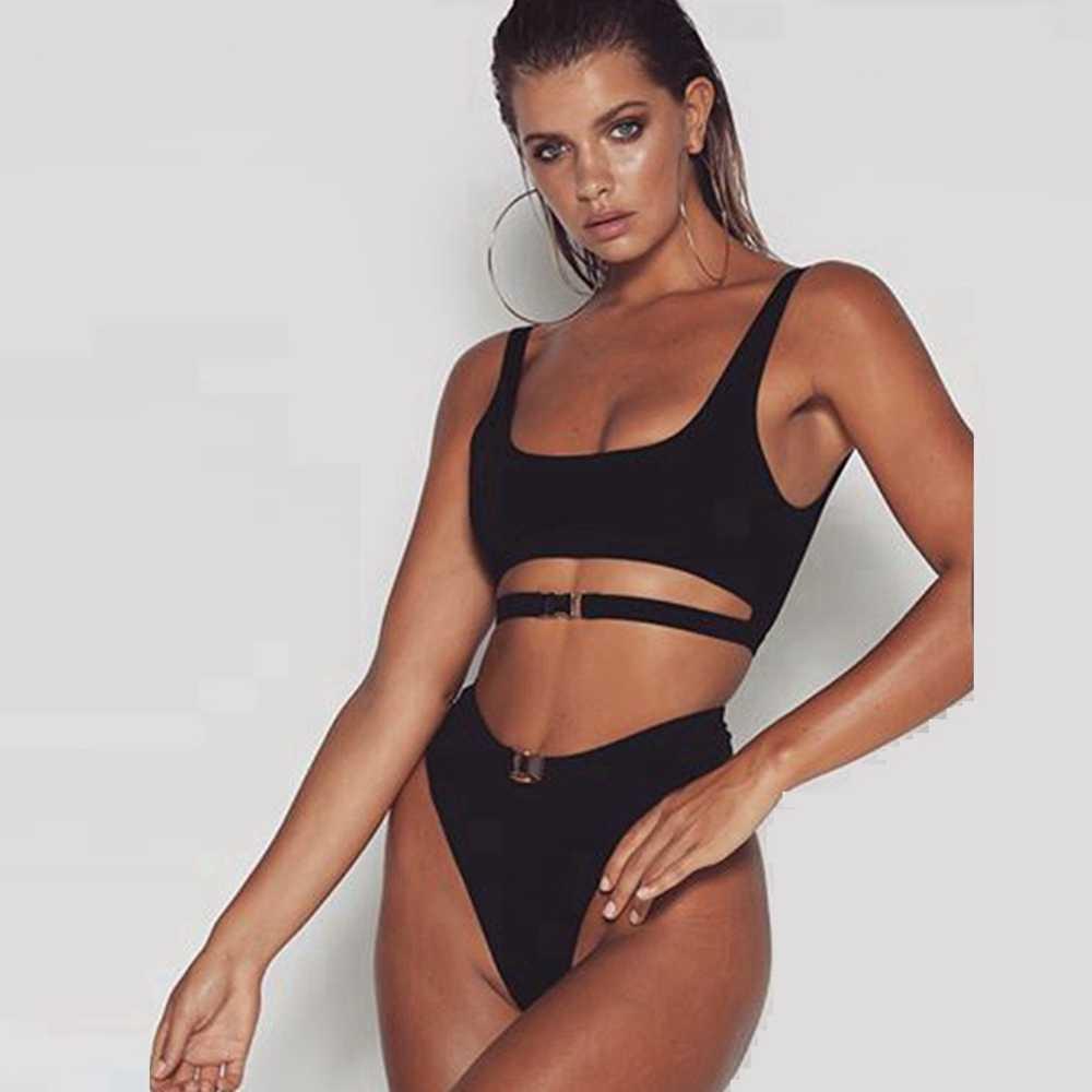 973869a0d95 Solid high waist bikini crop top bikini Brazilian Black swimsuit high  waisted cut out swimwear solid