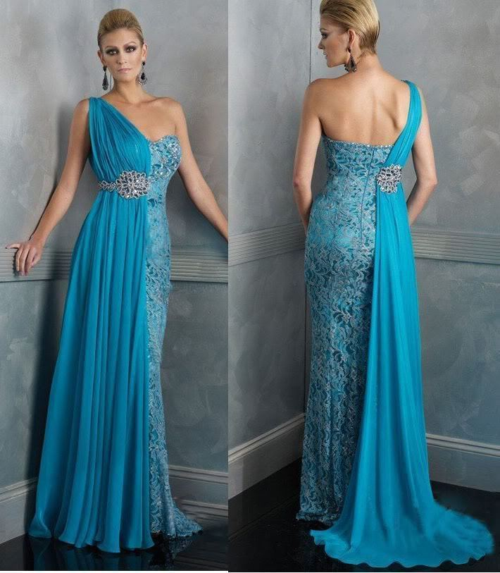 Free Shipping 2015 New One-Shoulder Blue Lace Vestidos De Festa Vestido Longo Party Formal Evening Beading Long Dress Prom Gown