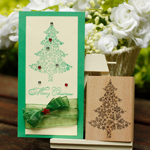 Christmas Tree Rubber Stamps Merry Christams Holiday Card