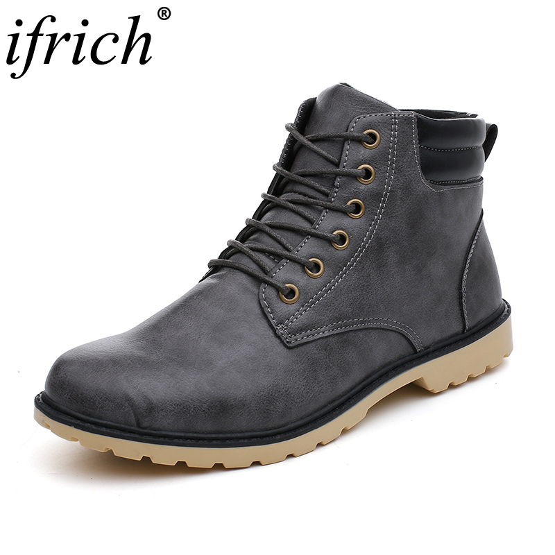 Autumn Winter Leather Men Boots Fashion Vintage Style Mens Shoes Casual High Cut Lace up Warm Motorcycle Boots Men Hombre Cheap