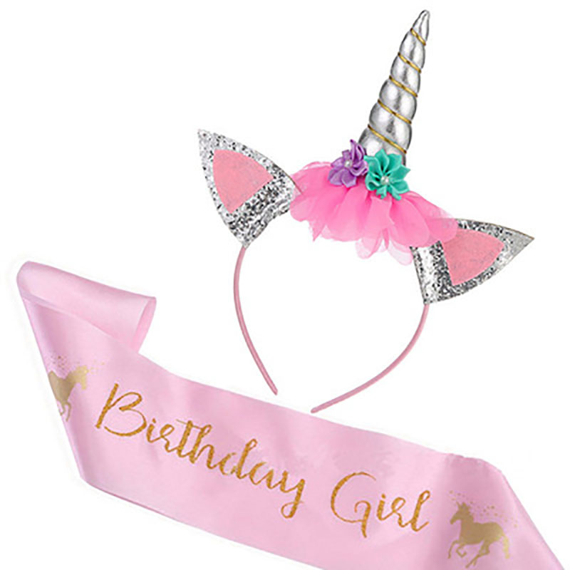 cute Unicorn Headband with Sash Satin Silk Sash for Girl birthday party baby shower birthday decoration Unicorn Party supply in Party DIY Decorations from Home Garden