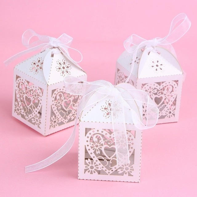 Relatively New 50PCS Love Heart Laser Cut Candy Gift Boxes With Ribbon  LQ29