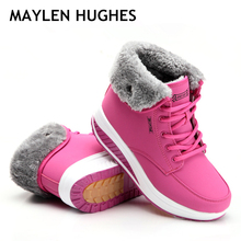 2020 Winter Women Warm Snow Boots New Fashion Women Female Cotton paddeVelvet Shoes Fur Ankle Boots For Women Lace Up Heel boots