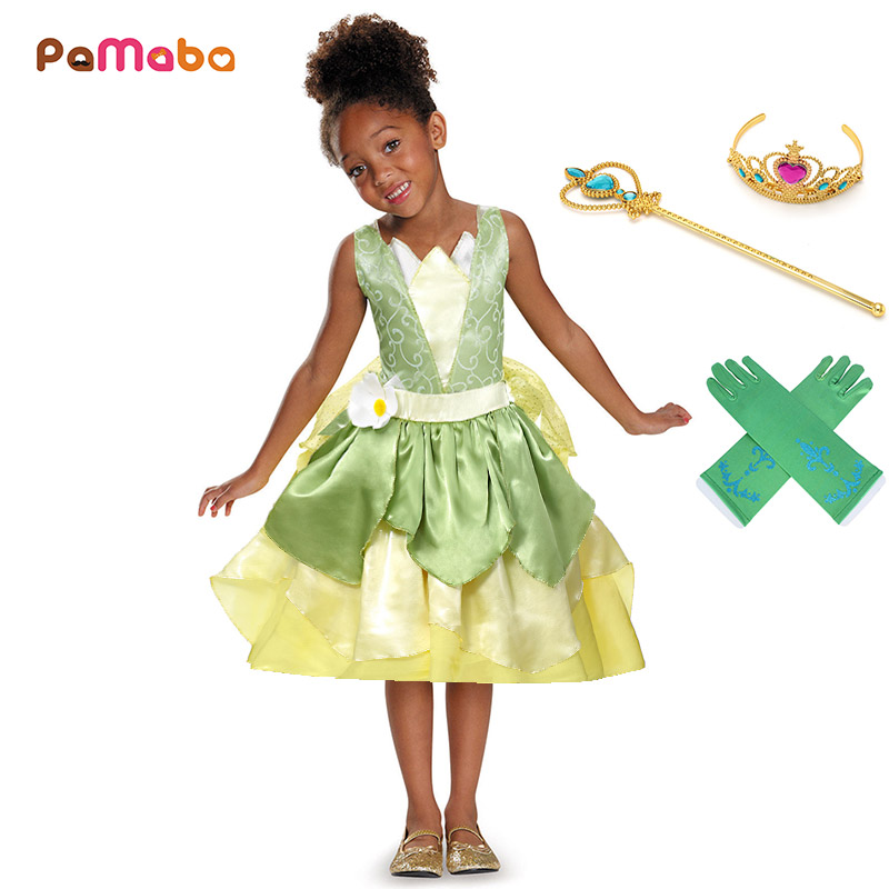 PaMaBa Girls Summer Party Dress Clothes Kids Birthday Party Princess Tiana Costume Child The Princess and the Frog Cosplay Dress new women elegant white dress up clothes lord of the rings the hobbit lady galadriel cosplay costume fariy dress customized