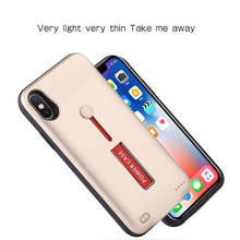 NS For iPhone X XS Battery Case 10000mAh Capacity & Ring Phone Holder Portable External Battery Power Bank Case Charger