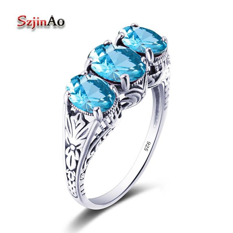 Szjinao Fine Jewelry Wholesale Cocktail Ring Aquamarine Fashion Filigree Edwardian Blue Stone 925 Sterling Silver Women Ring