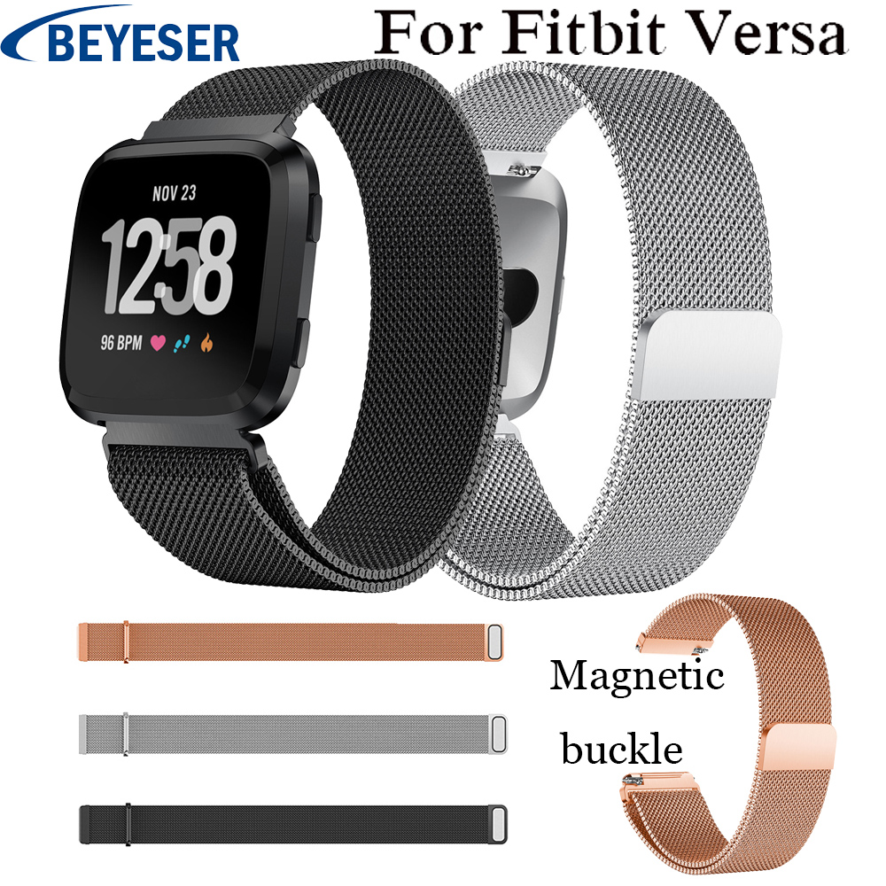For Fitbit versa Watchbands Milanese Magnetic loop Stainless Steel Wrist Band Strap For Fitbit versa Wristband Strap S L bands in Watchbands from Watches