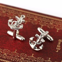 12pairs/lot French Style Silver Anchor Cufflinks Male French Shirt Cuff Links For Men Fashion Jewelry Accessory HC11376