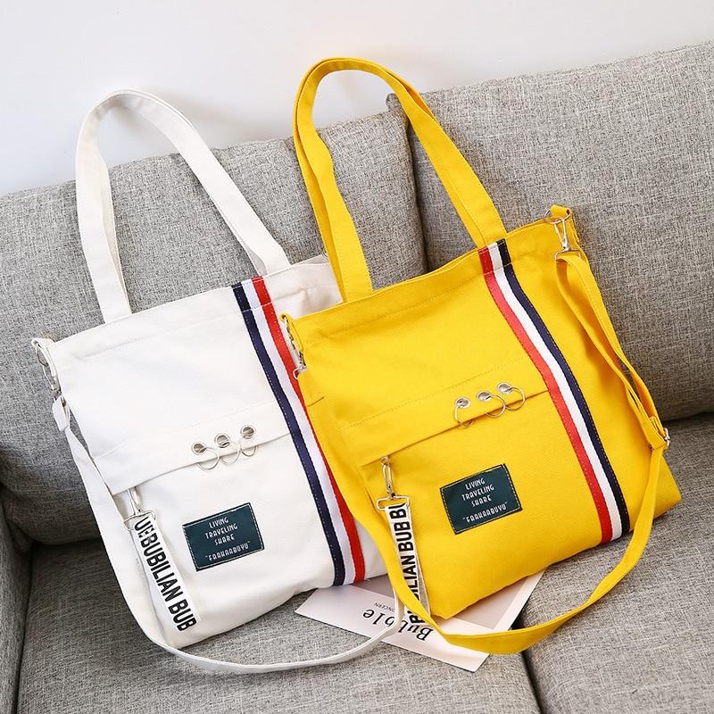 Bag Messenger-Bag Beach-Bags Canvas Ribbon-Shoulder Printing Wild Female Casual Fashion