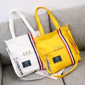 2019 Lady Fashion Ribbon Shoulder Messenger Bag Printing Canvas Female Simple Wild Casual Student Bag Beach Bags