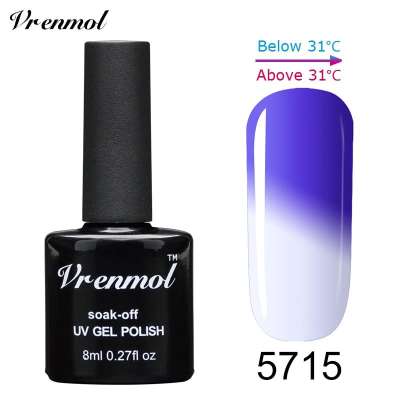 Vrenmol, 1 шт., меняющий цвет, замачиваемый УФ-гель, цвета, лак Verniz, Термальный, меняющий настроение, Гель-лак для ногтей - Цвет: 5715