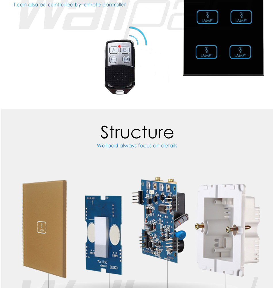 Hot Sales 4 Gang Remote Wallpad Gold Tempred Glass Switch Led Double Way Light Getsubject Aeproduct