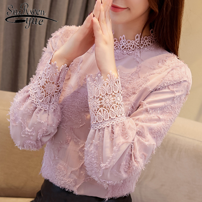 fashion woman   blouses   2018 lace chiffon   blouse     shirt   plus size women tops long sleeve clothes   blouse   wome   shirts   blusas 1667 50
