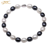 JYX SeaShell Pearl Necklace Jewelry 15*19mm Oval Round White and black Shell Pearl Necklace 17.5 High Luster shinning