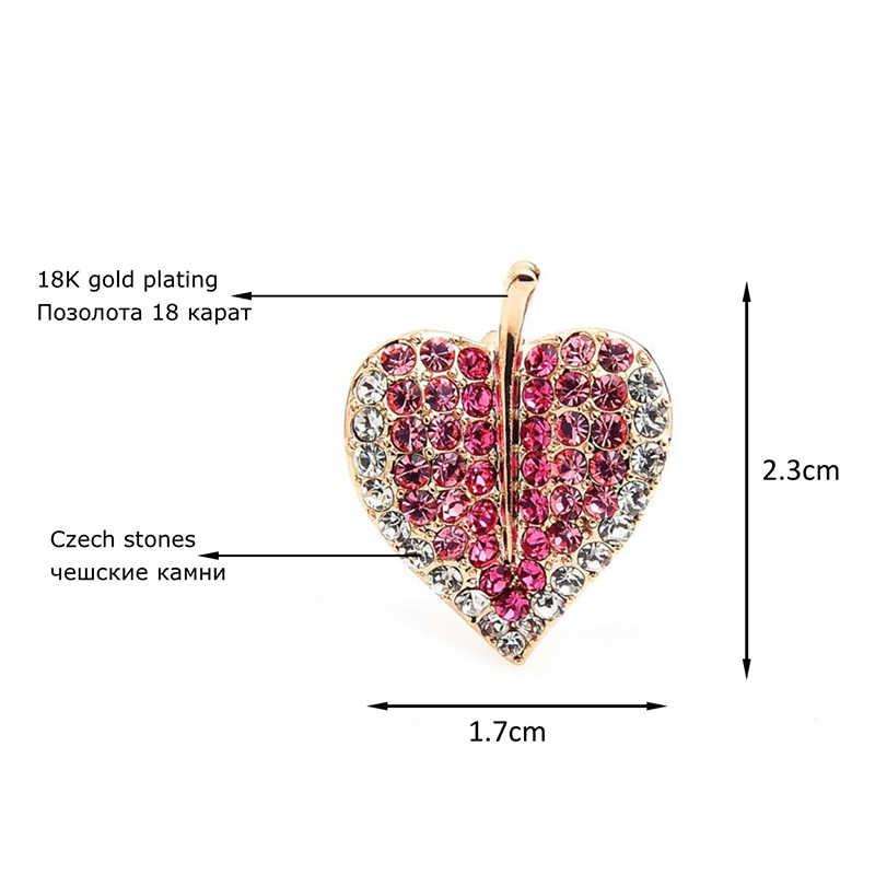 Wuli Bayi Berkilau Penuh Berlian Imitasi Persik Hati Bros Pin Wanita Kerah Aksesoris Terbaik Wanita Perhiasan Hadiah