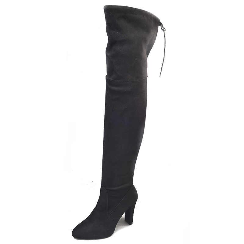 Xing kadın bahar uzun diz çizmeler ayakkabı bayanlar seksi parti elastik kuvvet fermuar motosiklet yüksek topuk çizmeler boyutu 35-43