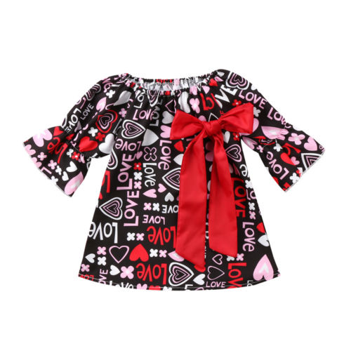 Toddler Kid Baby Girls Clothing Dress Valentine Party Pageant Prom Mini Cute Formal Dresses Clothes Girl 1-5T