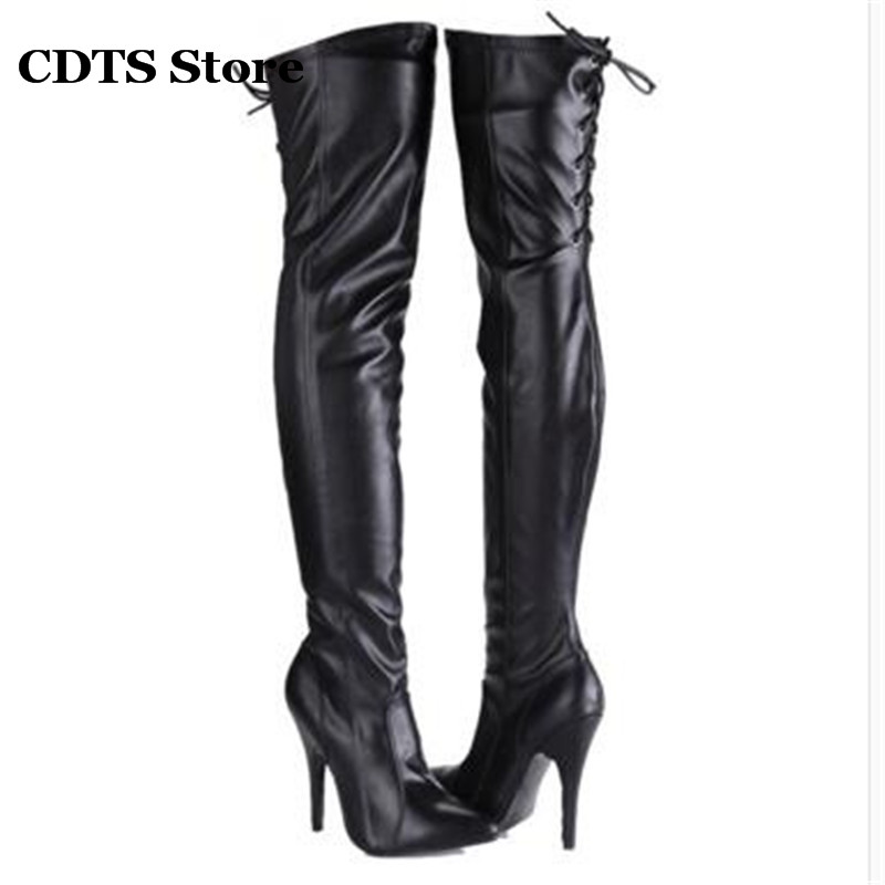 ФОТО CDTS:34-45 New arrival sexy 12cm high-heeled shoes woman pointed toe japanned leather cross straps zipper over-the-knee boots